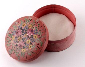 Vintage Pink Ladies Powder Tin - Hand Painted - Flowers