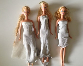 Silver Barbie Dress set of 3 recycled handmade