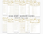 Twinkle Twinkle Little Star Baby Shower Games Package , Gold Star Baby Shower Games , Baby Bingo , Wishes , Advice , Printable