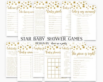 TWINKLE TWINKLE LITTLE Star ,  Baby Shower Games Package , Gold Star Baby Shower Games , Baby Bingo , Wishes , Printable Instant Download