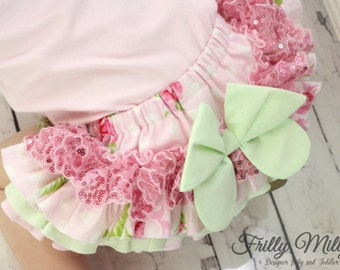 Frilly Milly ruffle nappy pants cover Roses and Mums Tanya Whelan