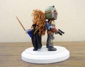 Ravenclaw girl and Boba Fett Wedding Cake Topper. Harry Potter & Star Wars Cake Topper