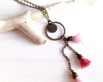 Necklace color String Trio of PomPoms bronze - jewelry brass - Bohemia jewellery - pink jewelry