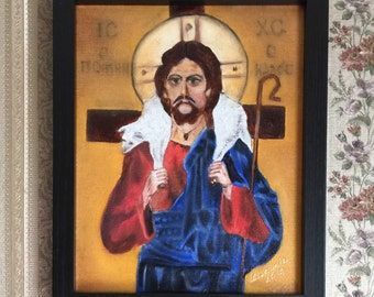 """CHRIST WITH a LAMB handmade oil painting 8""""x10"""", Free Domestic Shipping"""