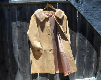 MARKED DOWN #Vintage Suede Coat with Fur Collar, Deep Pockets, 2 Side Kick Slits