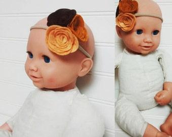 Jumbo Felt Flowers, Felt Flower Headband, Yellow Flower Headband, Baby Headband, Felt Headband, Nylon Headband