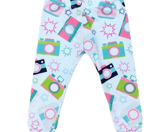 Camera Leggings • (Newborn Leggings,Baby leggings,Toddler Leggings,Kids Leggings,Girl Leggings,Dance Leggings,Birthday Outift)
