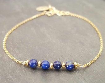 Gold filled and lapis lazuli bracelet