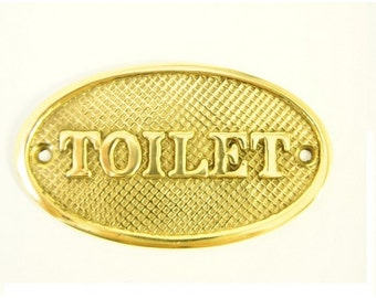 Toilet Cast Brass Sign