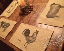 "Farm Animal Placemat of Natural Burlap or Canvas | Fully Lined w/ Cotton Canvas Backing | 11"" x 16"""