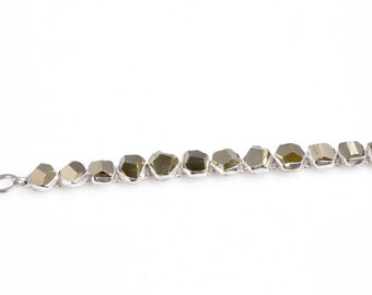 Elegant bracelet handcrafted in 925 sterling silver Made in Italy with stones Pyrite.