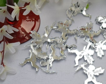 Cupid with bow Silver Mirror Acrylic Romantic PERSONALISED wedding Table Confetti Scatter Favours