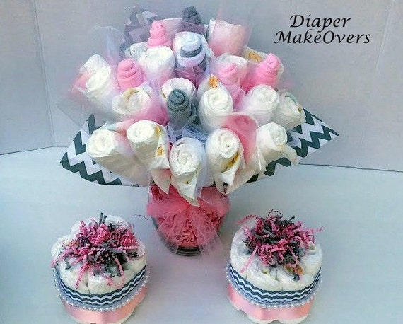 pink and gray chevron baby shower centerpiece or decoration diaper