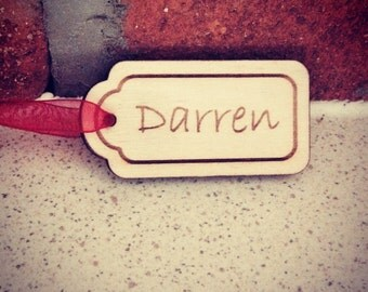 Personalised wooden name tags