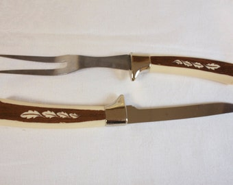 Vintage Mid century Carving set with Wooland pattern by Regent Sheffield Set of two