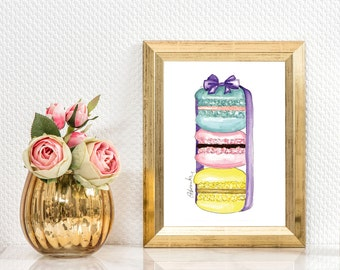 "Beautiful handmade print,Fashion illustration, Wall decor art ""Macaroons"""