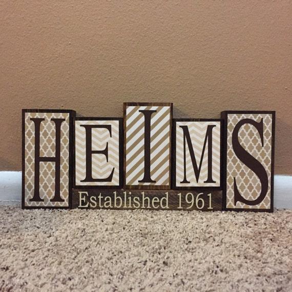 custom personalized home decor wood blocks last name