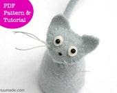 Cat Pattern, Kitten, Wool Felt, Stuffed Animal Sewing Pattern, Handsewing, Handmade, Beginner, upcycling, PDF DIY,  home decor ornament