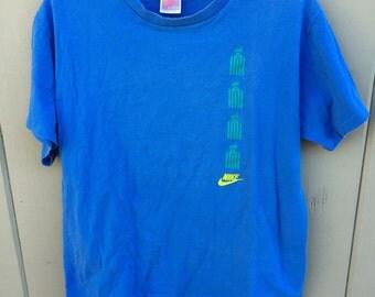 Vintage 80's Nike Basketball Hook Shot Graphic T Shirt USA sz XL Gray Tag