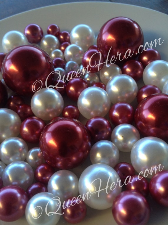 Cranberry Red White Decorative Jumbo Pearls Vase Fillers Table