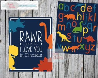 Dinosaur Prints, Child Room Prints,  Dino Prints, wall decor, Dino Love