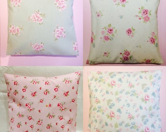 """Set of 4 Clarke & Clarke 16"""" Cushion Covers Vintage Shabby Chic Ditsy Floral"""