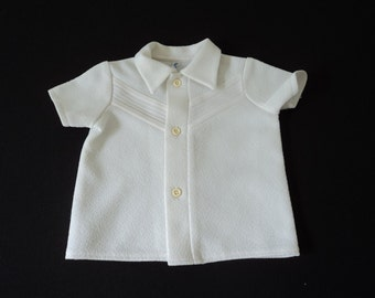 French vintage beautiful white  babies shirt  (02906)