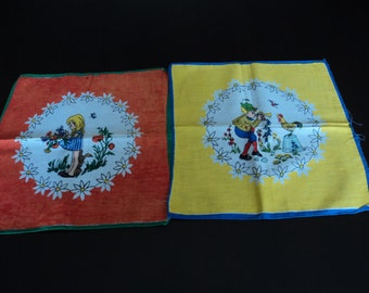 French vintage set of two children's cotton printed handkerchiefs (00171)