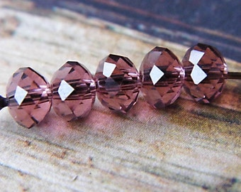 Soft Plum, Swarovski Beads, Rondelles, Beads