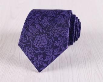 purple floral neckties.floral print ties.bestman necktie.gift neckties for bridal party.mens cotton neckties.suit fashion accessory+nt.s402
