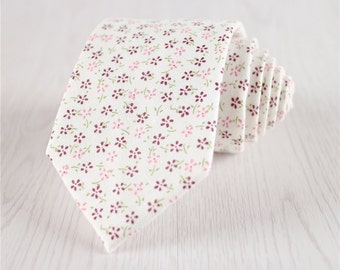 white floral necktie.vintage necktie.sakura flowers neckties.narrow ties.cheap ties with gift box.tie for wedding.bridal party ties+nt146