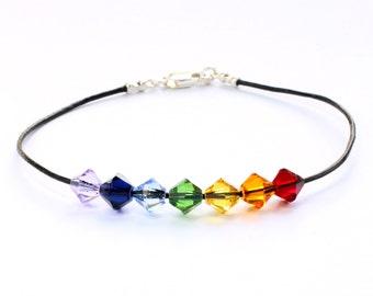 Swarovski,Rainbow bracelet,Swarovski bracelet,Crystal bracelet,Swarovski crystal,Rainbow,Bracelet Swarovski,Leather bracelet;Sterling silver