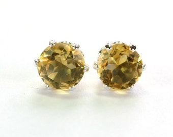 Genuine Citrine Earrings; Stud Earrings; Sterling Silver; Minimalist Earrings; Yellow Earrings; November Birthstone