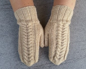 Beige/creamy/coffee and milk mittens / gloves handmade knitted.