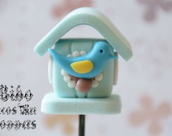 Edible 3D Bird House Cakes Decoration Fondant Topper , Birthday Cake Topper