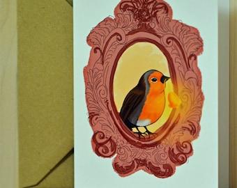 hand-drawn postcard bird
