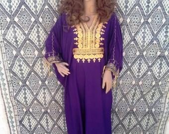 purple caftan,purple kaftan,purple dress, resortwear, loungewear, abaya, morrocan caftan, berber dress,oriental dress, oriental kaftan.