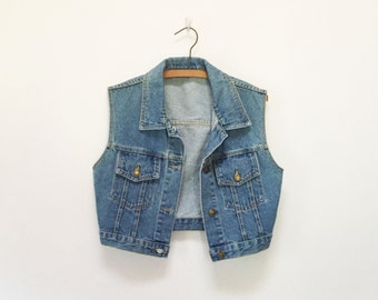 90s Anchor Blue Cropped Denim Vest