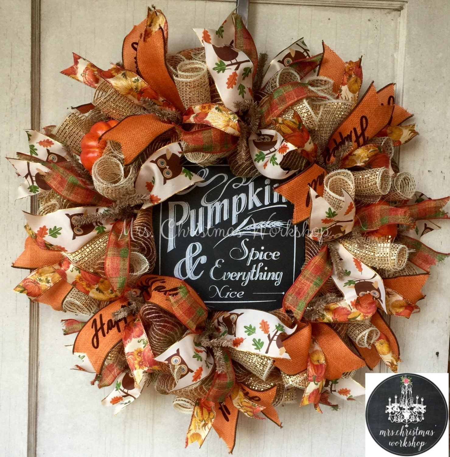 Burlap Wreath Fall Wreath Deco Mesh Wreath Pumpkin Wreath