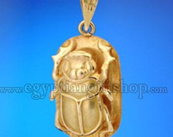 Egyptian 18k Gold Scarab Pendant - Scarab Jewelry