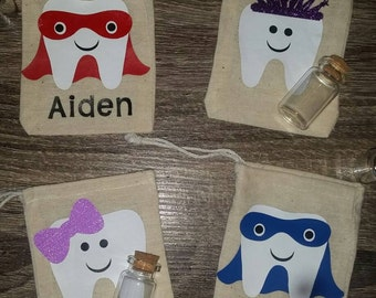 Tooth fairy bag, personalized tooth fairy pouch,baby tooth keepsake