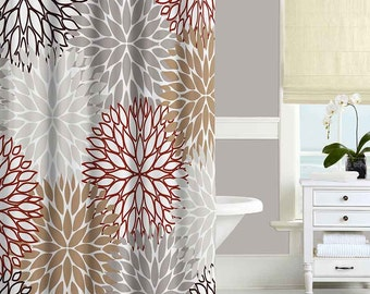 Brown Shower Curtain Red Beige Gray Bathroom Curtains Unique