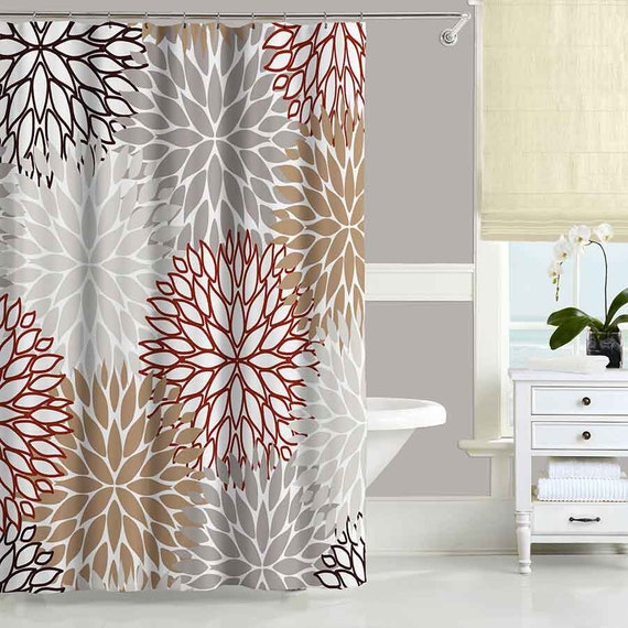 brown shower curtain red beige gray bathroom curtains. Black Bedroom Furniture Sets. Home Design Ideas
