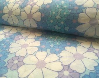 Vintage curtain fabric: 50cm x 1, 50m blue flowers box5