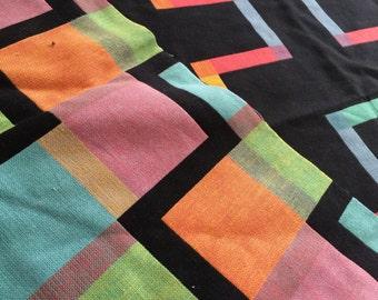 German vintage fabric geometric Love 85 x 130cm