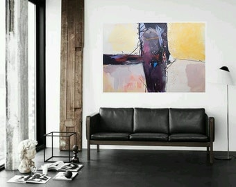 Large Original Abstract Painting Colorful Modern Artwork Purple Pink White Black Brown Paintings For Office & Home Modern Art 100 x 70 cm