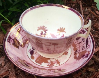 Unique Pink Teacup and Saucer Japan