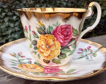Gorgeous Adderley Gold Rimmed Teacup and Saucer