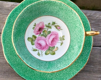 Green and Glorious-Roslyn Teacup and Saucer