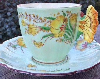 Rare Butterfly Handled Teacup and Saucer Japan